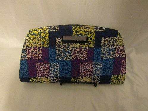 Clutch purse, Blue, yellow and fushia