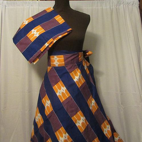 Ankara Wrap Skirt, with Headwrap, Blue, orange, purple and white