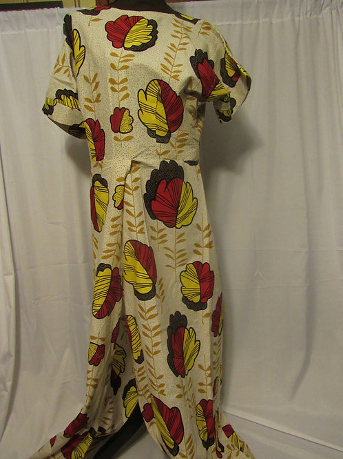 Ankara Long Shirt w/split, Cream. red, yellow and black