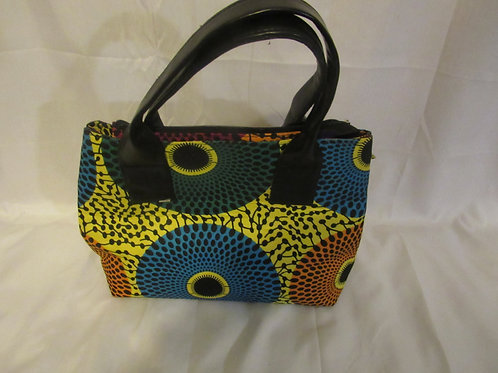 Ankara Purse,  African Print, Yellow Green, Blue and Orange