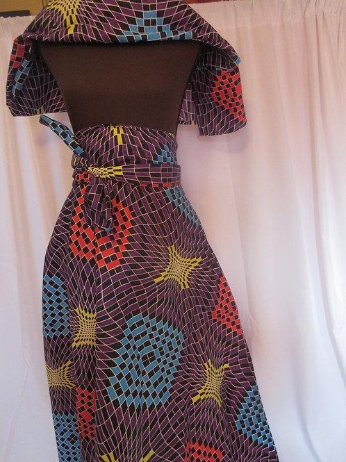 Ankara Wrap Skirt w/ Headwrap, Purple, Black, Red and Yellow
