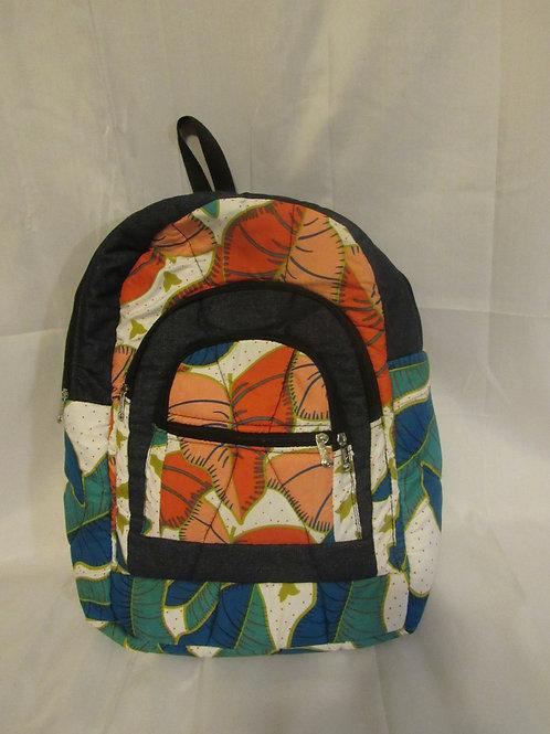 Ankara Backpack, Blue, green and pink