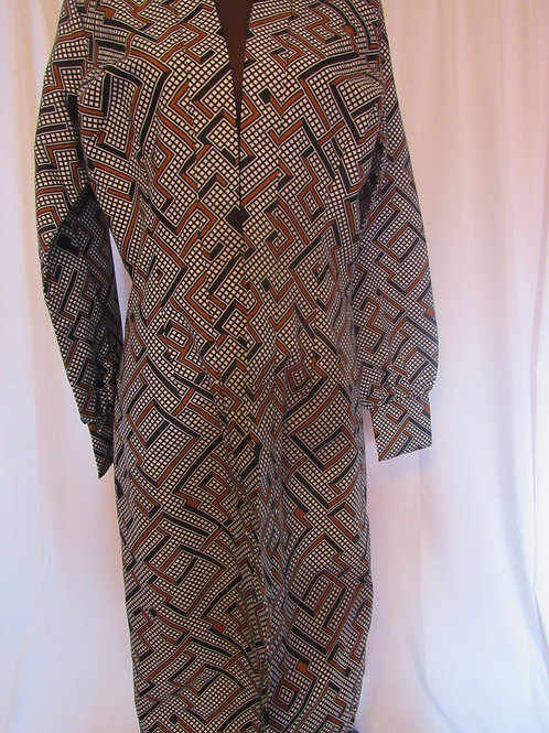 Ankara Jacket, Grey, Brown, Black and White