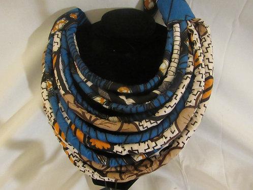 Ankara Necklace, multi color, Blue, Brown and white