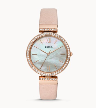 ES4537 FOSSIL  Madeline Three-Hand Blush Leather Watch