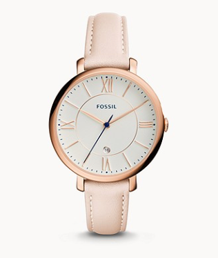 ES3988 FOSSIL Jacqueline Date Blush Leather Watch