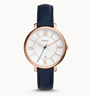 ES3843 FOSSIL  Jacqueline Navy Leather Watch