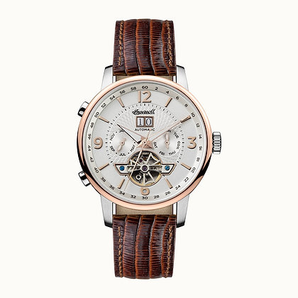 Ingersoll - The Grafton Silver/ Rose Gold/ Brown Leather