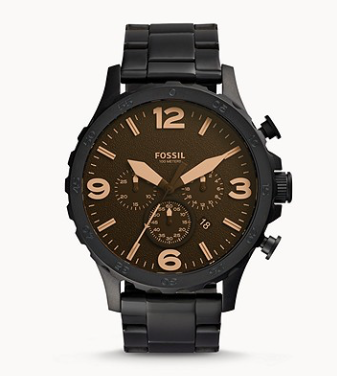JR1356 FOSSIL  Nate Chronograph Black Stainless Steel Watch