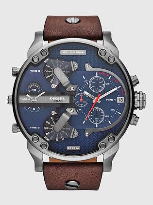 DZ7314 Diesel - Mr. Daddy 2.0 Gunmetal/Blue Brown Leather 4-Timezone Chrono