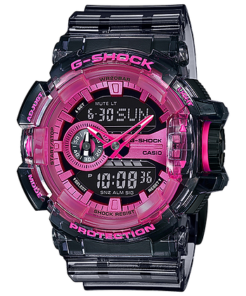 GA400SK-1A4DR  G-Shock - Neon Pink/Smoky Gray Translucent Rotary Duo