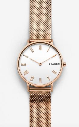 SKW2714 SKAGEN Hald Rose-Tone Silk-Mesh Watch