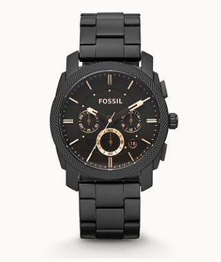 FS4682 FOSSIL  Machine Mid-Size Chronograph Black Stainless Steel Watch