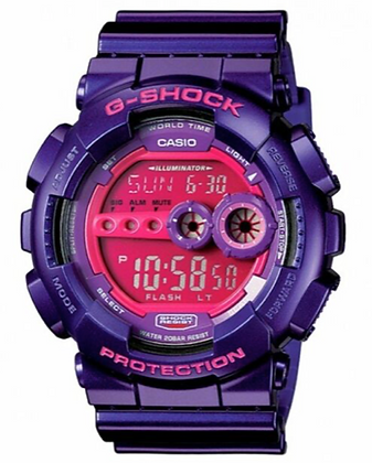 GD-100SC-6DR G-Shock Metallic Purple with Pink Display Crazy Colours