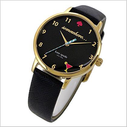 KSW1039 - Metro 5 O'Clock Black Dial Black Leather Ladies Watch