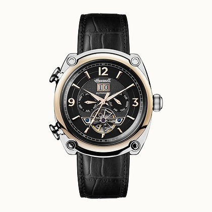 Ingersoll - The Michigan Silver/ Rose Gold/ Black Leather