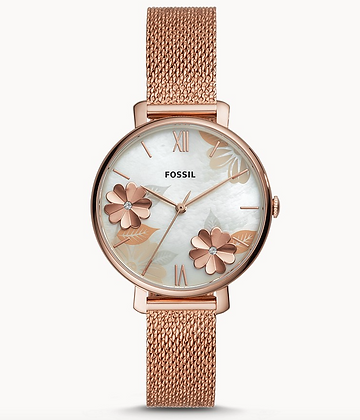 ES4534 FOSSIL  Jacqueline Three-Hand Rose-Gold-Tone Stainless Steel Watch