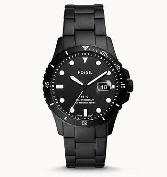 FS5659 FOSSIL FB-01 Three-Hand Date Black Stainless Steel Watch