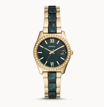 ES4676 FOSSIL Scarlette Mini Three-Hand Date Two-Tone Acetate and Stainless Stee