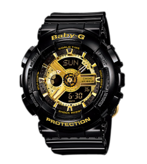 BA-110-1ADR BABY G Black and Gold Duo