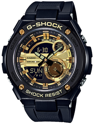 GST-210B-1A9DR G-STEEL All Black with Gold Full size Analog Digital G-Steel