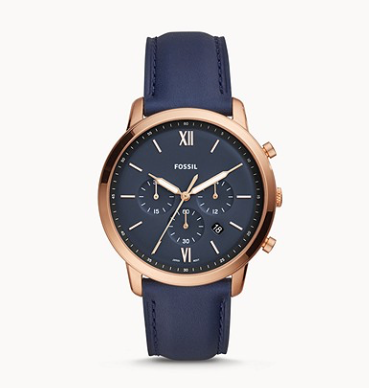 FS5454 FOSSIL Neutra Chronograph Navy Leather Watch
