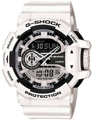 GA400-7A G-Shock B and W  Duo/Chrono with Crown
