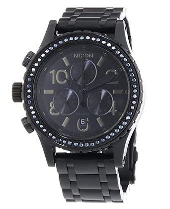A404 1879-00 NIXON Ladies 38-20 Chrono All Black Crystal Watch