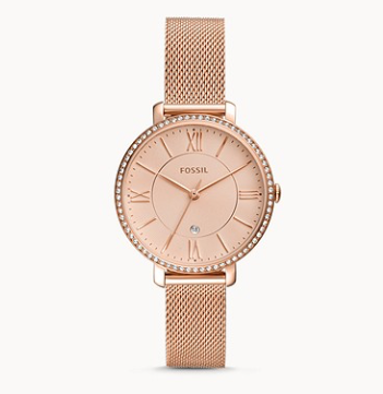 ES4628 FOSSIL Jacqueline Three-Hand Date Rose Gold-Tone Stainless Steel Watch