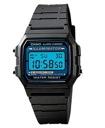 F105W-1A Casio - Retro Illuminator Black and Blue