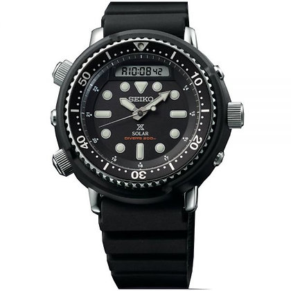 "SNJ025P1 Seiko Solar - ""Arnie"" Prospex Black Diver's Alarm Chrono"