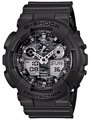 GA-100CF-8ADR - G-SHOCK All Black Camo Dial Duo/Chrono w/ speed indicator