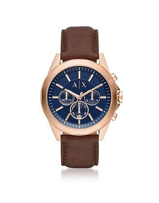 AX2626 A|X - Drexler Rose Gold/Blue Brown Leather Chromo