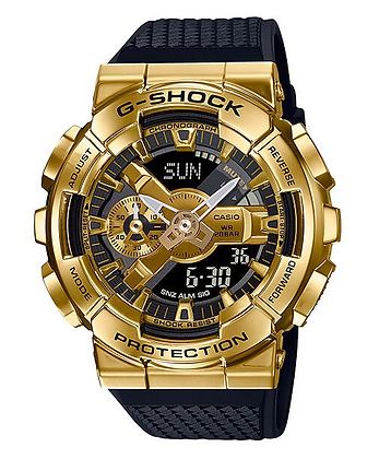 GM-110G-1A9DR G-Shock Gold IP stainless steel bezel and black resin band