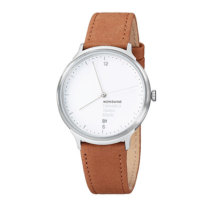 MONDAINE - Helvetica 1 Silver/Brown Leather