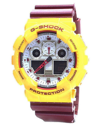 GA-100CS-9ADR G-shock Yellow Face + Maroon strap