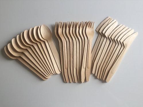 Lot de 10 paires de couverts en bois