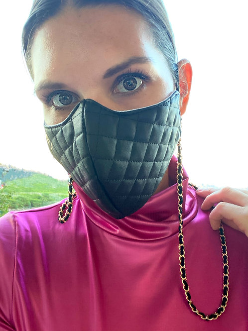 Faux Leather Quilted Face Mask
