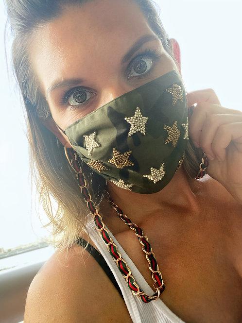 Designer Camo Gold & Silver Star Face Mask