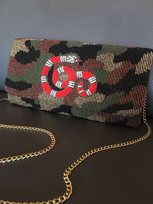 Snake Camo Structured Clutch