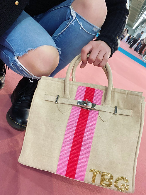 Hand Held Structured Tote-Stripe