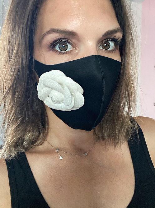 Designer Camellia Flower Face Mask-Stretch