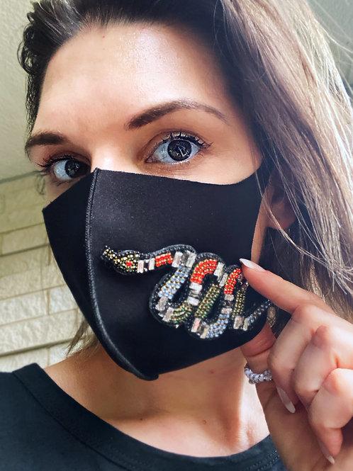 Fashion Face Mask- Stretch Jewel Snake