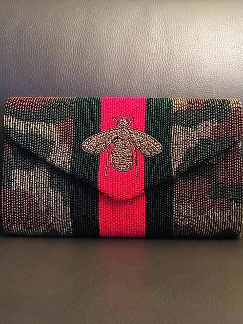 Envelope Camo Clutch with Stripe & Bee