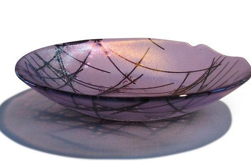 """10"""" Stringer Series fused glass bowl : Lavendar Irid"""