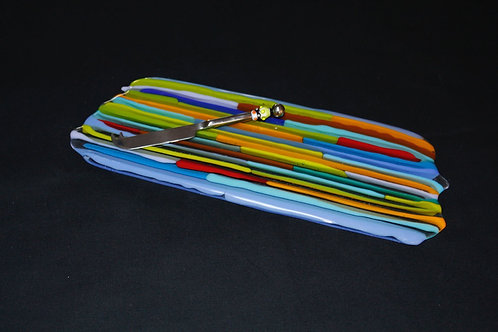 Fused Strip Cheese Tray & Beaded Knife