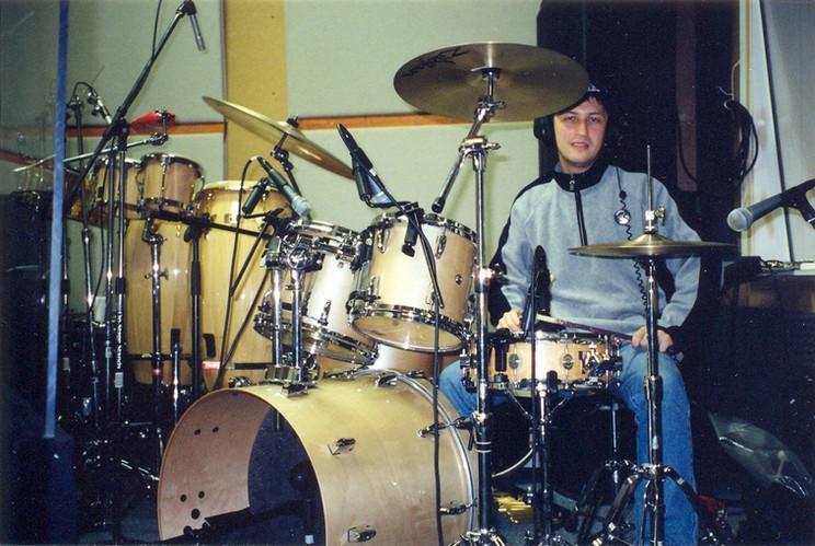 Drummer Dmitry Orudzhov at the Rice Chace studio Sacramento USA