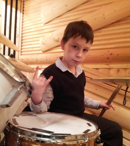 Drum DW. Nikita is a student of drummer Dmitry Orudzhov