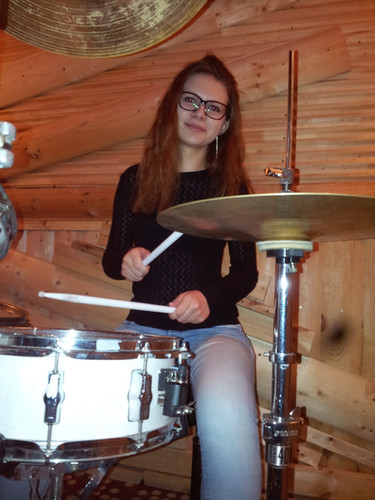 The girl at the drums. Dmitry Orudzhov's students
