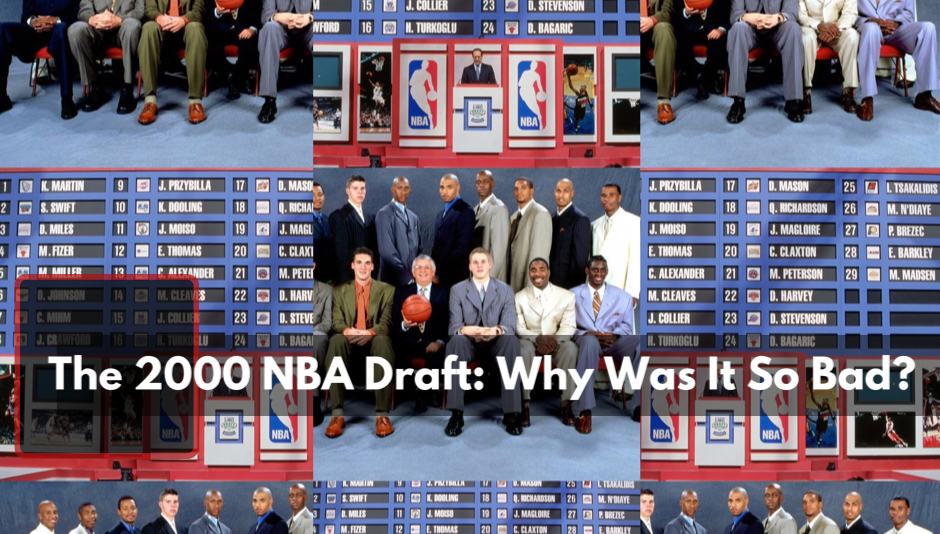 The 2000 NBA draft board and 2000 NBA draft picks group photo